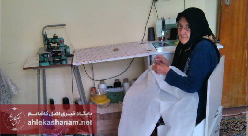 تصویر کمک مادر شهید کاشانی در تامین لباس مخصوص کادر درمانی بیمارستان