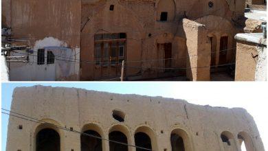 تصویر تخریب عمارت باشکوه قاجاری در روستای بارونق کاشان