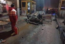 تصویر واژگونی خودرو پژو ۴۰۵ با ۱۴ مصدوم
