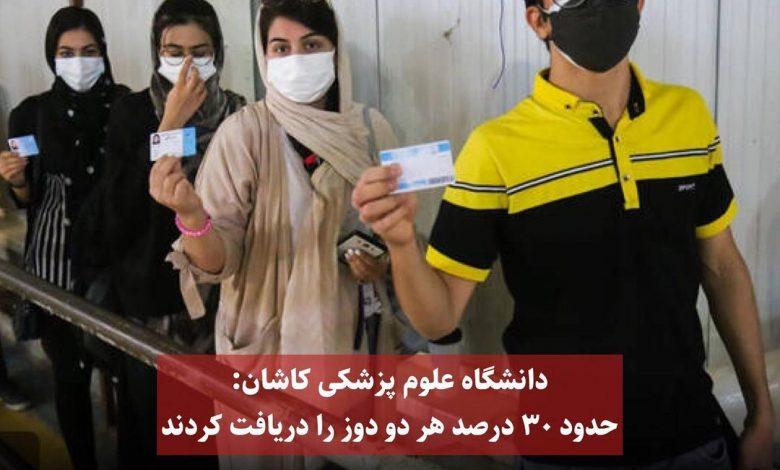 تاکنون ۶۱ درصد جمعیت منطقه کاشان دوز اول واکسن را دریافت کردند
